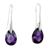 Sterling Silver Earrings - february purple angel pave teardrop swarovski crystal earrings Image.