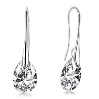 Earrings - clear crystal angel pave teardrop swarovski crystals dangle earrings Image.