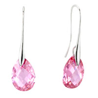 Sterling Silver Earrings - october pink leaf swarovski crystal earrings Image.