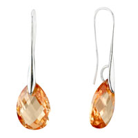 Earrings - champagne angel pave teardrop swarovski crystal earrings Image.