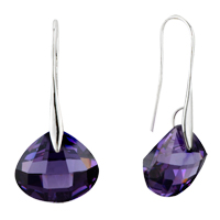 Earrings - february purple shell swarovski crystal drop earrings Image.