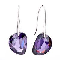 Sterling Silver Earrings - february purple semi circle swarovski crystal earrings Image.