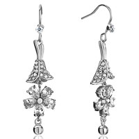 Earrings - trumpet flower detailed crystal dangle april birthstone clear earrings Image.