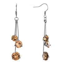 Earrings - triple different sized november birthstone topaz crystal round dangle drop earrings Image.
