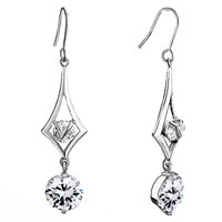 Earrings - rhombus frame crystal round dangle april birthstone drop earrings Image.