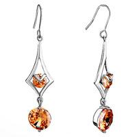 Earrings - rhombus topaz crystal round dangle november birthstone drop earrings Image.