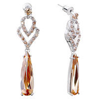 Earrings - hot inverted drop heart detailed crystal dangle topaz glam earrings Image.
