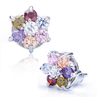 Earrings - colorful crystal lucky flower stud earrings Image.