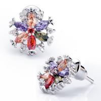 Earrings - colorful crystal snowflake flower stud earrings Image.
