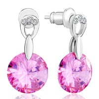 Earrings - october birthstone square double flower pattern pink crystal pin photo european beads earrings Image.
