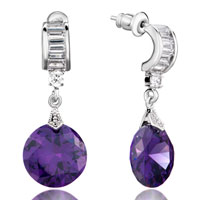 Earrings - february birthstone purple crystal drop round dangle earrings gift Image.
