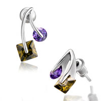 New Year Deals - olivine purple crystal cherry stud earrings Image.
