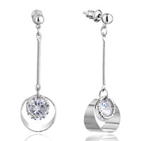 Earrings - april birthstone clear crystal ring dangle stone chips earrings Image.