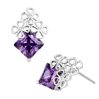 Earrings - feb birthstone amethyst purple crystal square clover stud earrings Image.