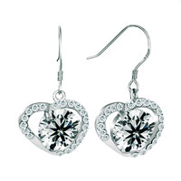 Earrings - apr birthstone clear white crystal open heart dangle hook earrings Image.