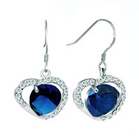 Earrings - sep birthstone sapphire blue crystal open heart dangle hook earrings Image.