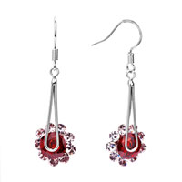 Earrings - july birthstone light red crystal dangle flower hook fancy earrings Image.