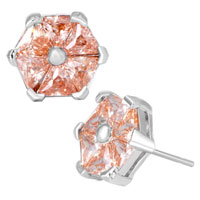 Earrings - sparkle orange pink crystal flower fancy silver plated stud earrings Image.
