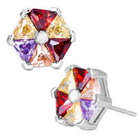 Earrings - fashion multicolor crystal flower silver plated stud earrings Image.