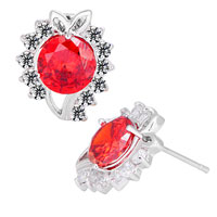Earrings - july birthstone light red ball clear crystal floral stud earrings Image.