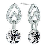 Earrings - silver tone apr birthstone clear white crystal dangle earrings Image.