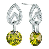 Earrings - silver tone aug birthstone peridot green crystal dangle earrings Image.