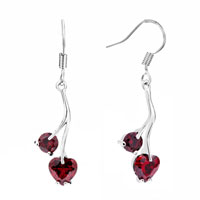 Earrings - jan birthstone garnet red crystal heart dangle earrings Image.