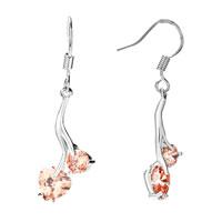 Earrings - silver tone nov birthstone topaz yellow crystal double hearts dangle love earrings Image.