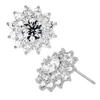 Earrings - apri birthstone clear white crystal flower floral stud earrings Image.