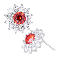 Earrings - july birthstone light red crystal flower floral fancy stud earrings Image.