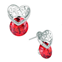 Earrings - july birthstone light red crystal hollow heart lovely stud earrings Image.