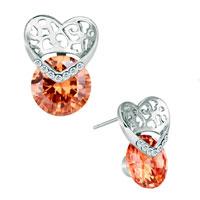 Earrings - nov birthstone topaz crystal silver tone heart fancy stud earrings Image.
