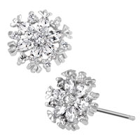 Earrings - apr birthstone clear white crystal flower floral stud earrings Image.