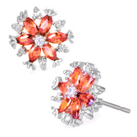 Earrings - nov birthstone topa crystal flower floral silver/ p stud earrings Image.