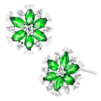 Earrings - swarovski elements crystal petal flower stud earrings Image.