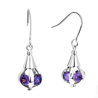 Earrings - mothers feb birthstone amethyst purple crystal dangle silver/ p hook earrings Image.