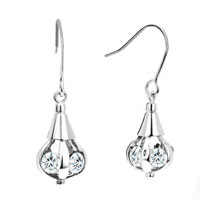 Earrings - april birthstone clear white crystal dangle silver/ p hook earrings Image.