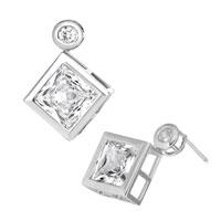 Earrings - apr birthstone clear white crystal square stud earrings Image.