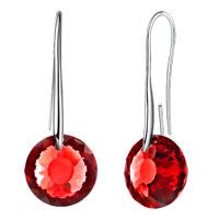 Earrings - january birthstone garnet red swarovski elements crystal round drop earrings twelve colors Image.