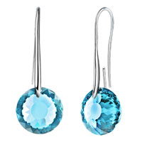 Earrings - march birthstone aquamarine blue swarovski elements crystal round drop earrings twelve colors Image.