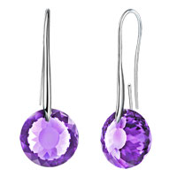 Earrings - june birthstone alexandrite amethyst swarovski elements crystal round drop earrings twelve colors Image.