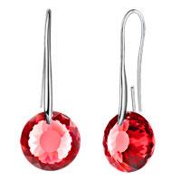 Earrings - july birthstone ruby red swarovski elements crystal round drop earrings twelve colors Image.