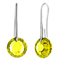 Earrings - august birthstone peridot green swarovski elements crystal round drop earrings twelve colors Image.