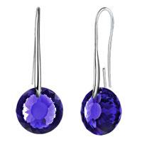 Earrings - september birthstone sapphire blue swarovski elements crystal round drop earrings twelve colors Image.