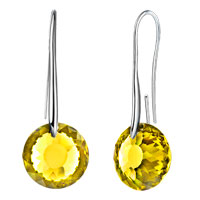 Earrings - november birthstone topaz yellow swarovski elements crystal round drop earrings twelve colors Image.