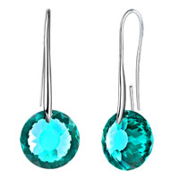 Earrings - december birthstone blue topaz swarovski elements crystal round drop earrings twelve colors Image.