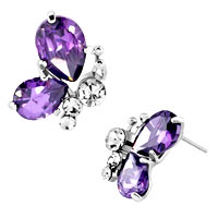 Earrings - diomand earrings amethyst purple drop gemstone butterfly stud earrings Image.