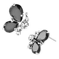 Earrings - diomand earrings classic black drop gemstone butterfly stud earrings Image.