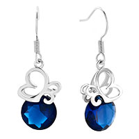 Earrings - filigree butterfly animal dangle sapphire blue round drop crystal earrings Image.