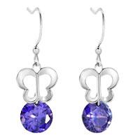 Earrings - celtic filigree butterfly dangle amethyst purple round drop crystal fish hook earrings Image.